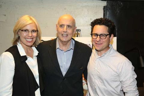 Editor Sunny Hodge, actor Jeffrey Tambor, and moderator J.J. Abrams at Transparent: Anatomy of an Episode, March 17, 2016 in Los Angeles.