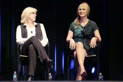 Sunny Hodge and Zackary Drucker onstage at Transparent: Anatomy of an Episode, March 17, 2016 in Los Angeles.