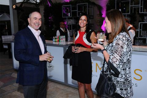 Television Academy governors Terence Winter, Alison Binder, and Sharon Lieblein at the Writers nominee reception September 17, 2015, at the Montage in Beverly Hills, California.