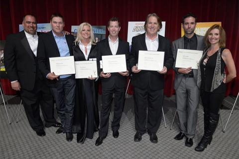 Thom Williams, Norman Howell, Julie Michaels, Casey O'Neal, Vince Deadrick Jr., Marc Scizak an Dorenda Moore at the Stunts Nominee Reception in North Hollywood, California.