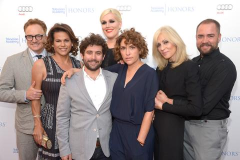 The cast and producers of Transparent arrive at the Eighth Annual Television Academy Honors, May 27 at the Montage Beverly Hills.
