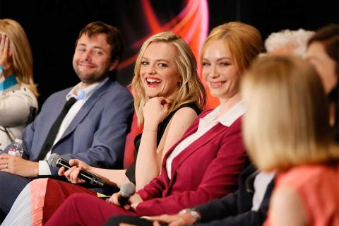 "Actors Vincent Kartheiser, Elisabeth Moss, and Christina Hendricks onstage at ""A Farewell to Mad Men,"" May 17, 2015 at the Montalbán Theater in Hollywood, California."
