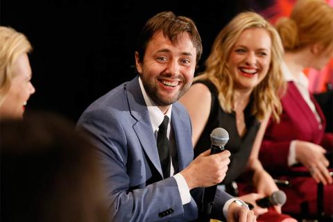 """Actors Vincent Kartheiser and Elisabeth Moss onstage at """"A Farewell to Mad Men,"""" May 17, 2015 at the Montalbán Theater in Hollywood, California."""