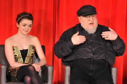 Maisie Williams and George R. R. Martin onstage at An Evening with Game of Thrones.