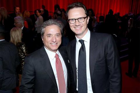 Rick Rosen, Television Academy Hall of Fame chair, and Peter Rice of Fox, recipient of the Cornerstone Award at the Television Academy's 70th Anniversary Gala and Opening Celebration for its new Saban Media Center on June 2, 2016