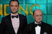 Bob Newhart and Jim Parsons onstage presenting at the 65th Primetime Emmy Awards