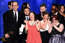 The producers and cast from Born This Way accept their award at the 2016 Creative Arts Emmys.