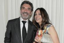 Television producer Chuck Lorre (Mom) and Lucia Gervino, Television Academy Honors selection committee chair, at the Seventh Annual Television Academy Honors in Beverly Hills, California.