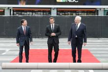 Television Academy CEO Bruce Rosenblum, 66th Emmys host Seth Meyers and show executive producer Don Mischer at this year's Emmy Awards Red Carpet Rollout ceremony at the Nokia Theatre LA LIVE.