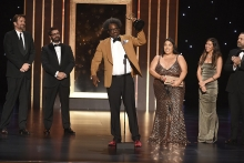 The United Shades of America with W. Kamau Bell team accepts an award at the 2019 Creative Arts Emmys.