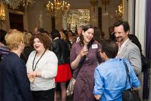 Guests chat at Networking Night Out NYC! at the St. Regis Hotel in New York City, June 12, 2015.