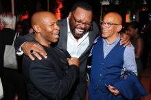Kevin Eubanks, Petri Hawkins-Byrd, and Television Academy governor Rickey Minor at the 2015 Dynamic & Diverse Emmy Celebration, August 27, 2015 in Beverly Hills, California.