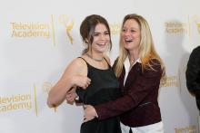 Maia Mitchell and Teri Polo on the red carpet at An Evening with The Fosters in Los Angeles, California.