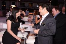 Television Academy governors Gail Mancuso and Fred Savage chat at the 2015 Choreography Nominee Reception, August 30, 2015, at the Montage in Beverly Hills.