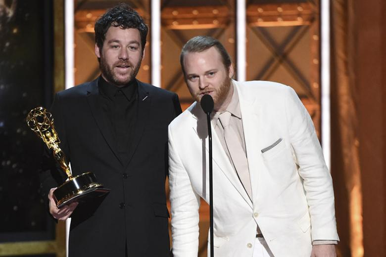 Kyle Dixon and Michael Stein accept an award at the 2017 Creative Arts Emmys.