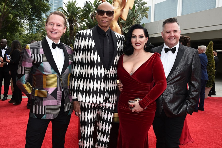Carson Kressley RuPaul Michelle Visage and Ross Mathews on the red carpet at the 2017 Primetime Emmys.