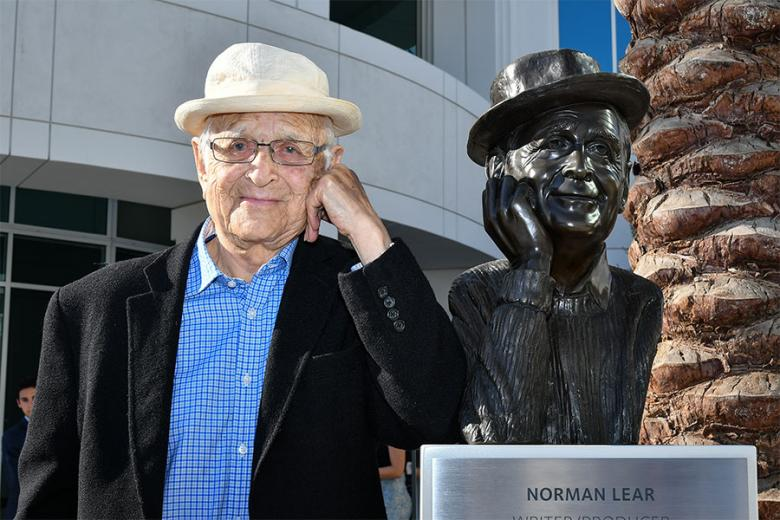 Norman Lear and friend at The Power of TV: A Conversation with Norman Lear and One Day at a Time presented by the Television Academy Foundation and Netflix in celebration of the Foundation's 20th Anniversary of THE INTERVIEWS: An Oral History Project on