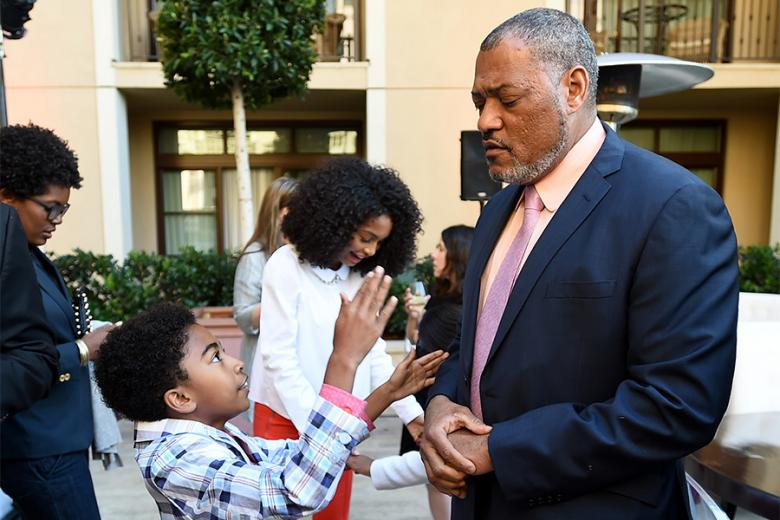 Miles Brown and Laurence Fishburne oc black-ish enjoy the reception at the Eighth Annual Television Academy Honors May 27 at the Montage Beverly Hills.