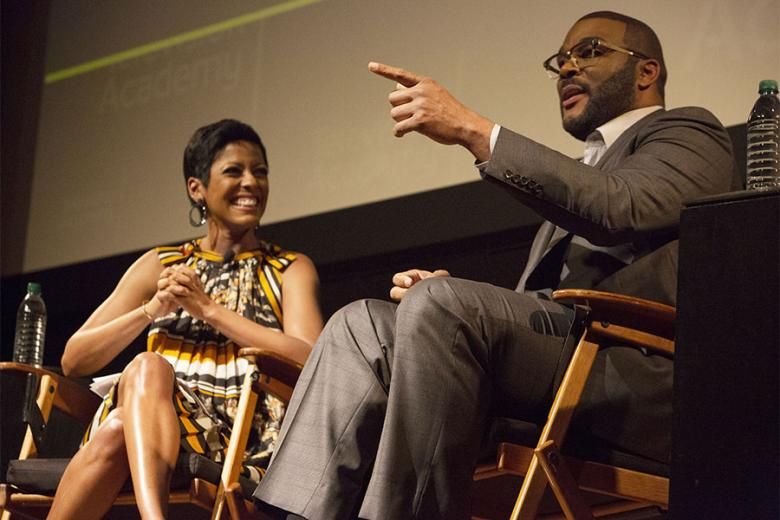 "Tamron Hall and Tyler Perry at the Television Academy's first member event in Atlanta ""A Conversation with Tyler Perry"" at the Woodruff Arts Center on Thursday May 4 2017."