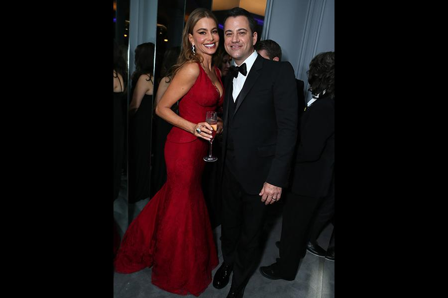 Sofia Vergara and Jimmy Kimmel hang out in the Audi Green Room at the 65th Emmy Awards.