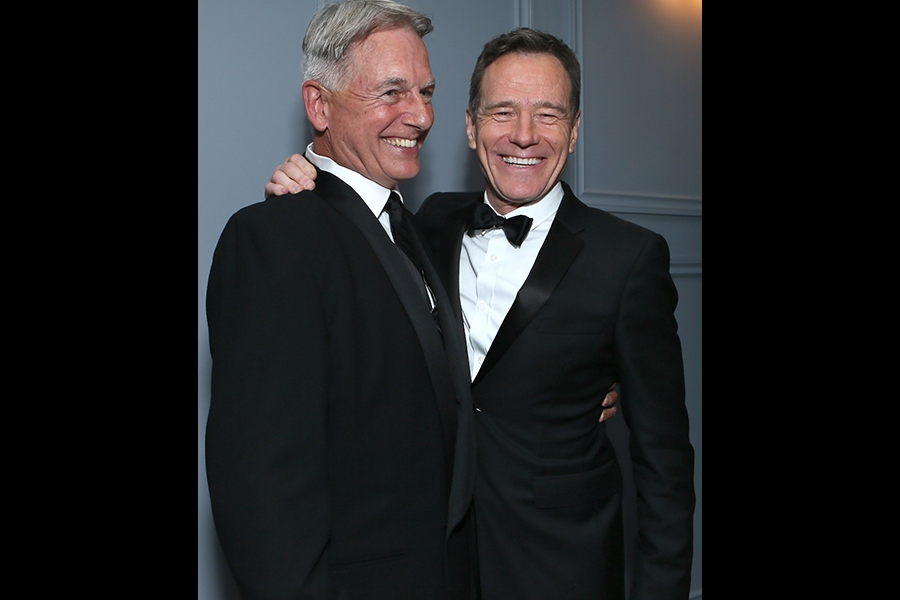 Mark Harmon and Bryan Cranston hang out in the Audi Green Room at the 65th Emmy Awards.