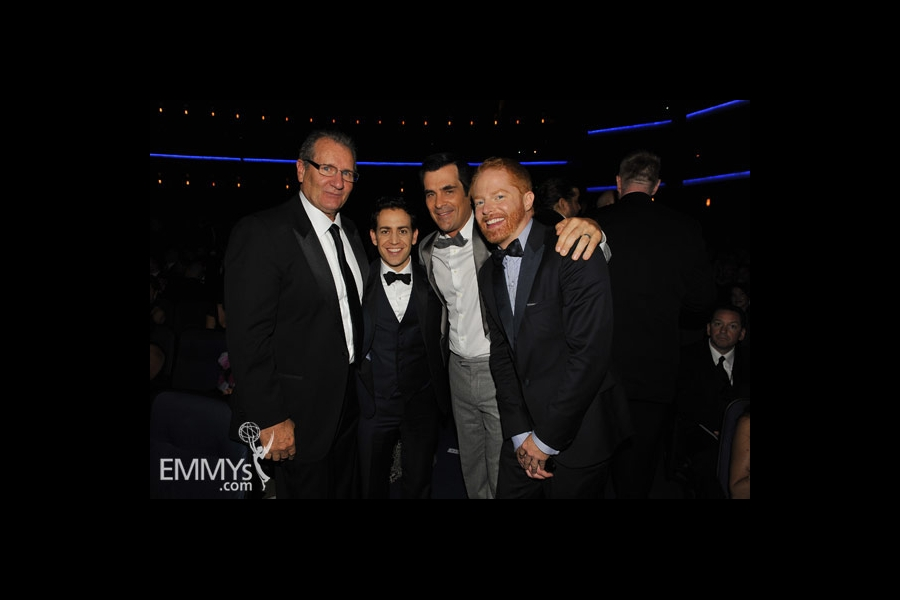 Ed O'Neill, Jason Winer, Ty Burrell & Jesse Tyler Ferguson at the 62nd Primetime Emmy Awards