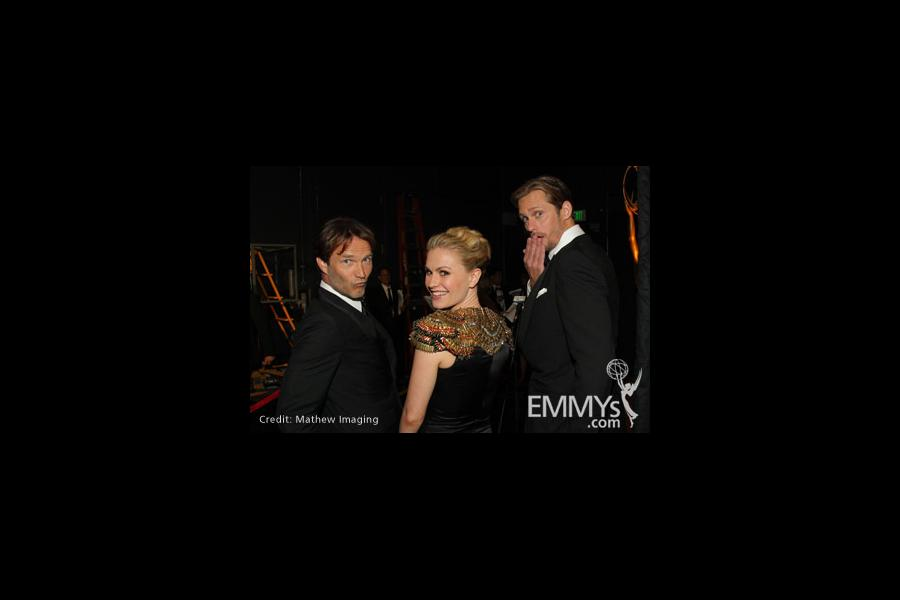 Stephen Moyer, Anna Paquin & Alexander Skarsgård ham it up backstage at the 62nd Primetime Emmy® Awards