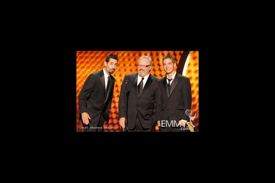 Josh Harris, Thom Beers, and Jake Harris speak onstage during the 62nd Primetime Creative Arts Emmy Awards