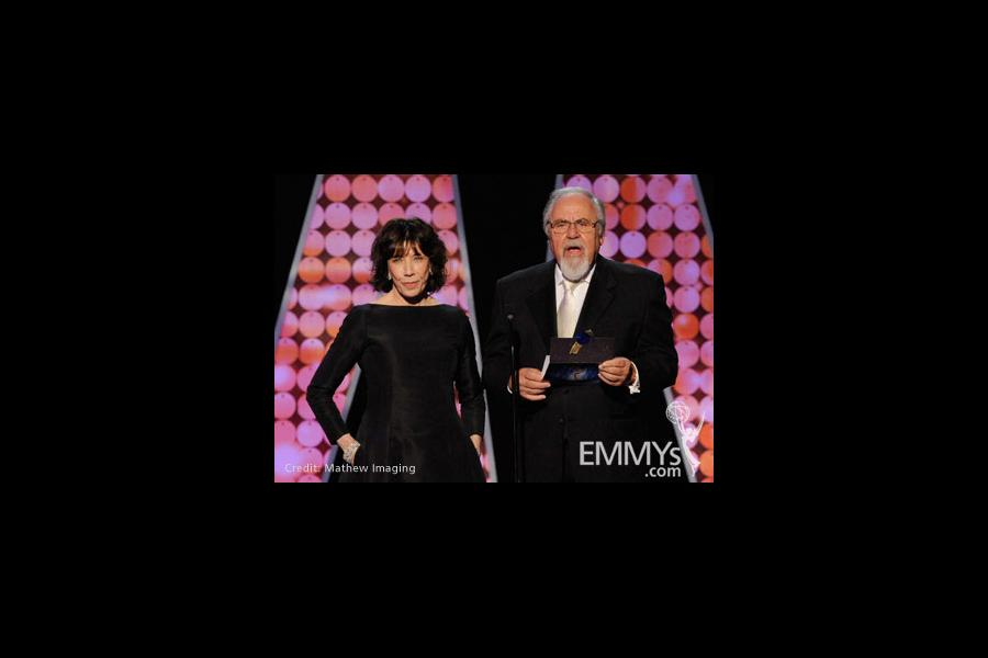 Actress Lily Tomlin and producer George Schlatter speak onstage during the 62nd Primetime Creative Arts Emmy Awards