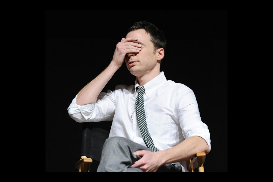 "Jim Parsons onstage at the Leonard H. Goldenson Theatre for ""An Evening with The Big Bang Theory"""