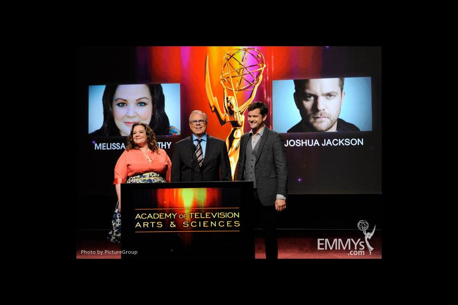 Melissa McCarthy, John Shaffner and Joshua Jackson at the 63rd Primetime Emmy Awards Nominations Ceremony