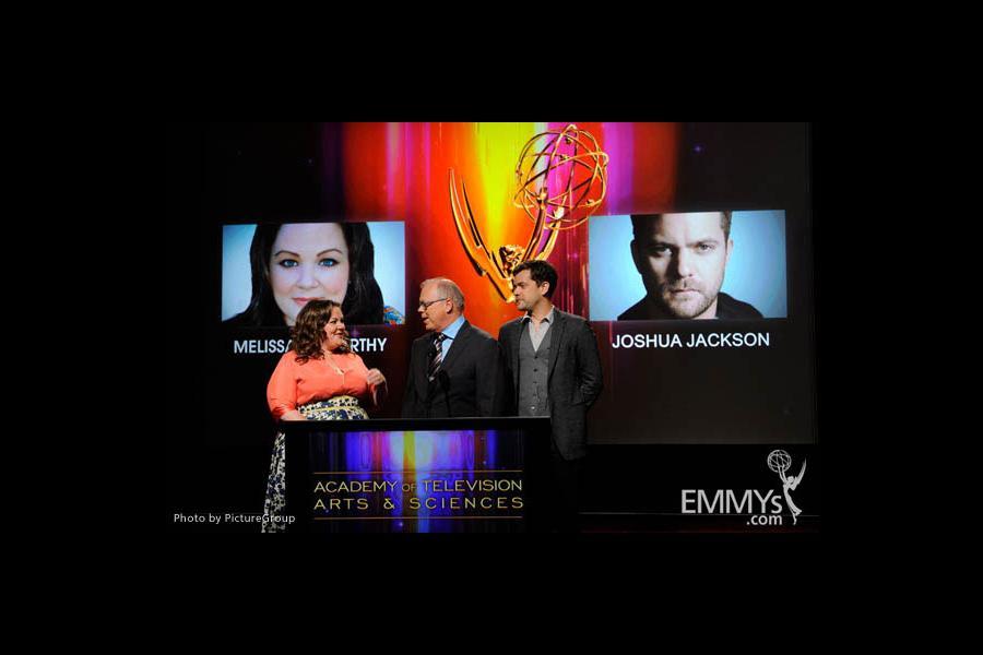 Melissa McCarthy, John Shaffner and Joshua Jackson at the 63rd Primetime Emmy® Awards Nominations Ceremony