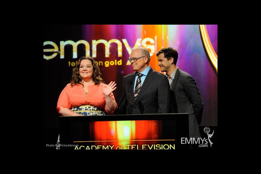 Melissa McCarthy, John Shaffner & Joshua Jackson at the 63rd Primetime Emmy Awards Nominations Ceremony