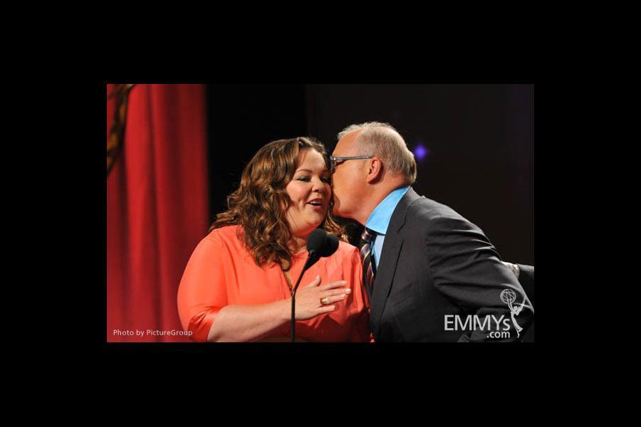 Melissa McCarthy & John Shaffner at the 63rd Primetime Emmy Awards Nominations Ceremony