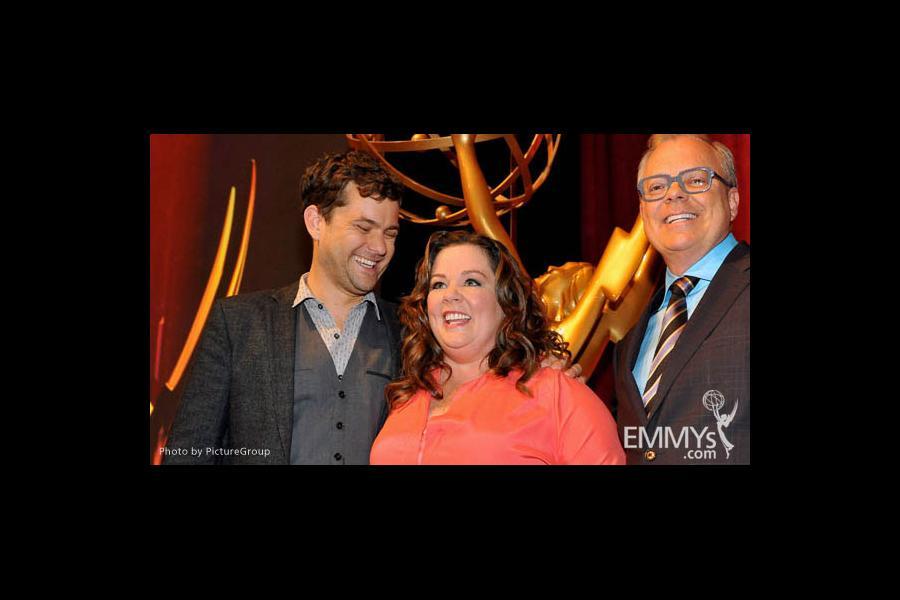 Joshua Jackson, Melissa McCarthy & John Shaffner at the 63rd Primetime Emmy Awards Nominations Ceremony