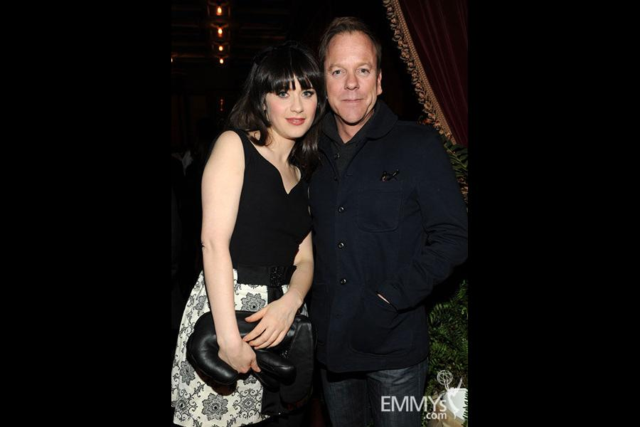 Zooey Deschanel and Kiefer Sutherland attend the FOX Winter TCA All-Star Party