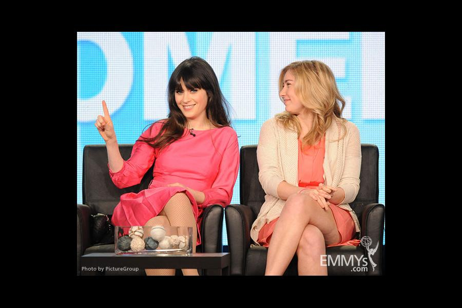 Zooey Deschanel and Liz Meriwether at the 2012 winter TCA conference.