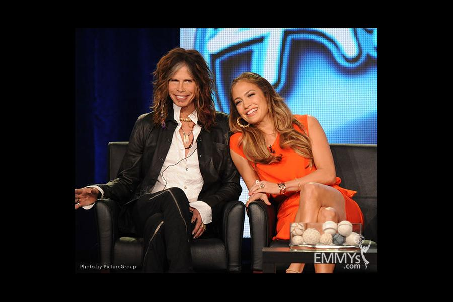 American Idol judges Jennifer Lopez and Steven Tyler of Aerosmith at the 2012 winter TCA conference