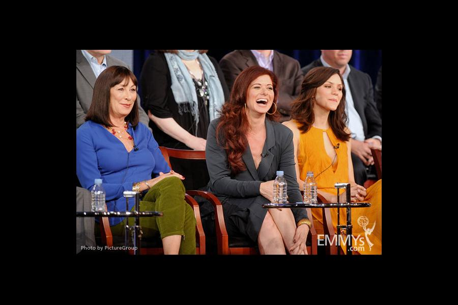 Anjelica Huston, Debra Messing and Katharine McPhee onstage during the Smash panel at the 2012 Winter TCA Tour