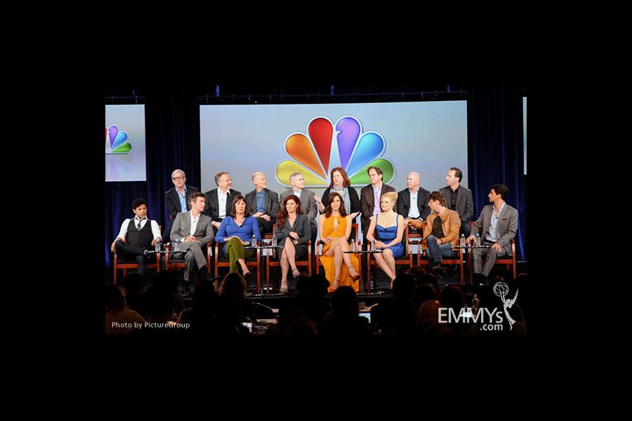 The actors and creators of Smash onstage at the 2012 Winter TCA Tour