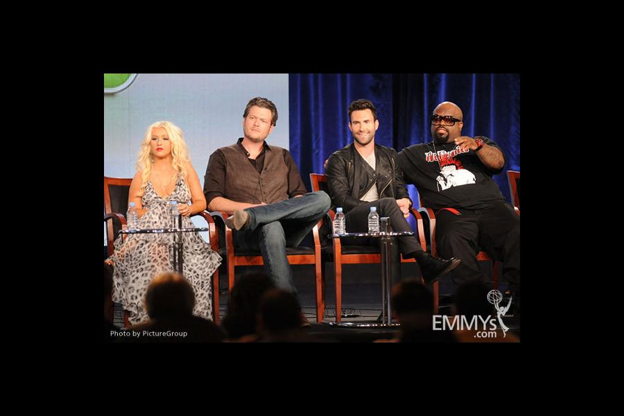 Christina Aguilera, Blake Shelton, Adam Levine and Cee Lo Green onstage during The Voice panel at the 2012 Winter TCA Tour