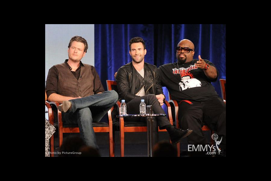 Blake Shelton, Adam Levine and Cee Lo Green onstage during The Voice panel at the 2012 Winter TCA Tour