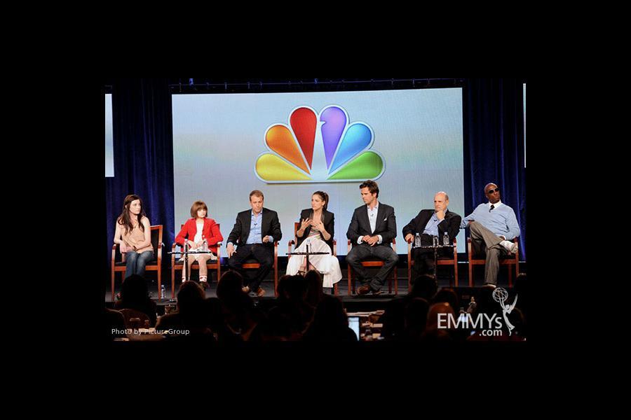 Margo Harshman, Joey King, Tad Quill, Amanda Peet, David Walton, Jeffrey Tambor and J.B. Smoove onstage during the Bent panel at