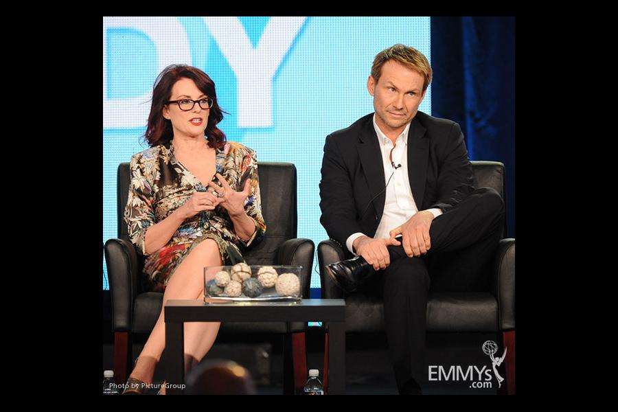 Megan Mullally and Christian Slater onstage during the Spring Comedy Panel during the 2012 Winter TCA Tour.