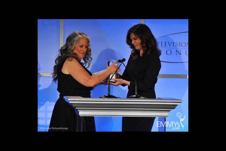 Jeanne Tripplehorn and Marta Kauffman onstage at the 5th Annual Television Academy Honors