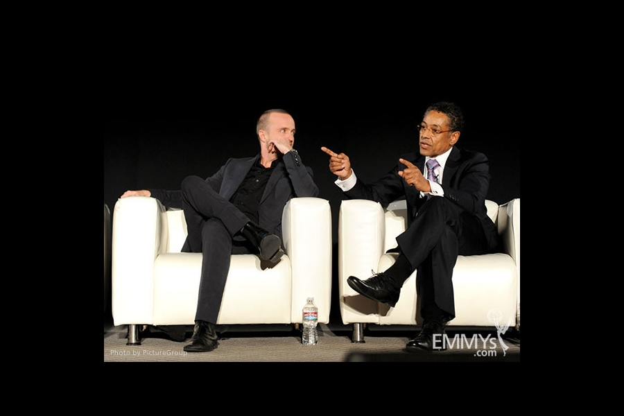 Aaron Paul and Giancarlo Esposito participate in an Evening with Breaking Bad