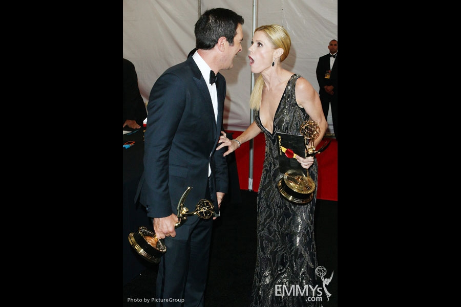 Modern Family stars Ty Burrell and Julie Bowen with their Emmys at the 63rd Primetime Emmy Awards at Nokia Theatre