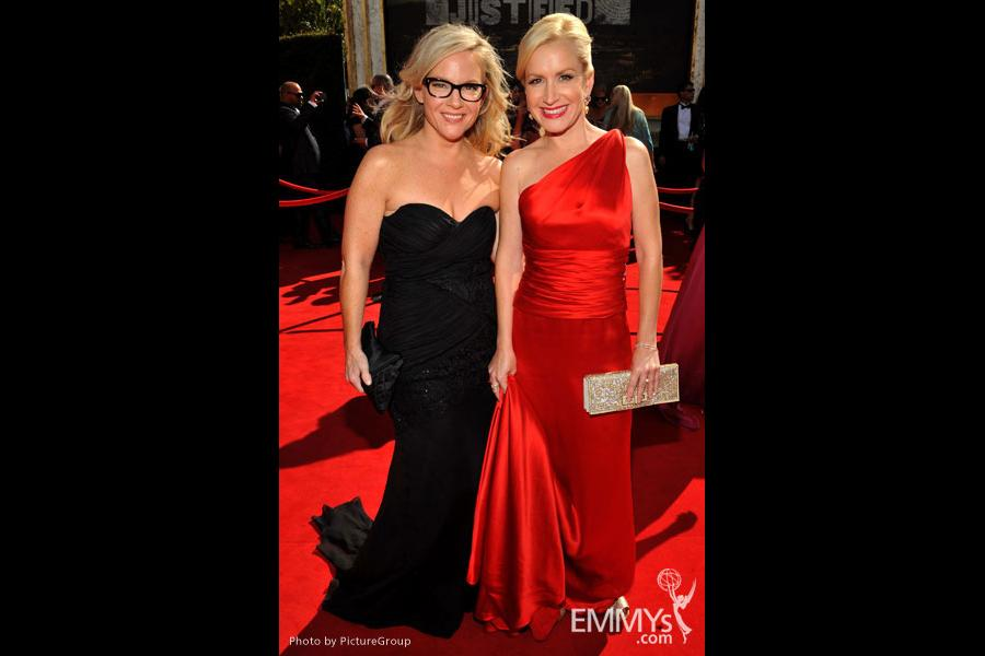 Rachael Harris and Angela Kinsey arrive at the Academy of Television Arts & Sciences 63rd Primetime Emmy Awards