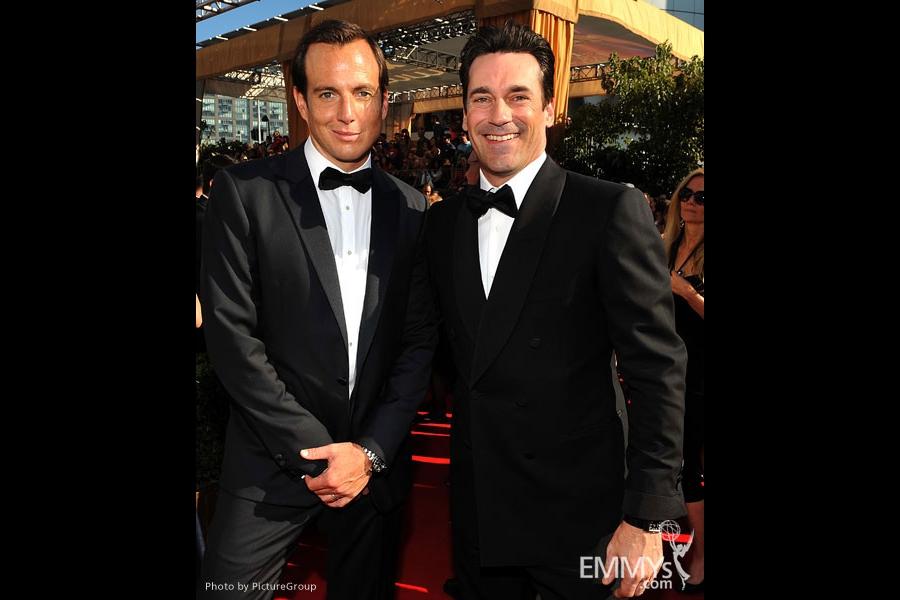 Jon Hamm and Will Arnett during the Academy of Television Arts & Sciences 63rd Primetime Emmy Awards