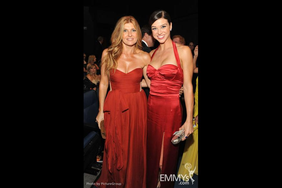 Connie Britton and Adrianne Palicki during the Academy of Television Arts & Sciences 63rd Primetime Emmy Awards